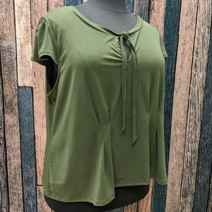 Modcloth Green Tie Front Top